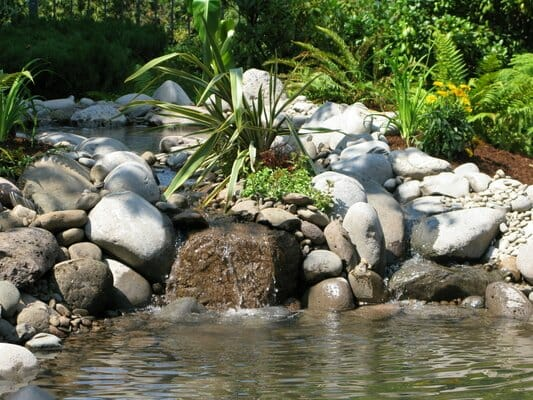 Custom Designed Dry Stack Rock Water Feature | Junction City Oregon
