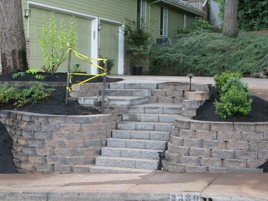 Dry Stack Rock Wall built with Flagstone flooring | Junction City Oregon
